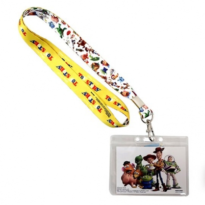 〔小禮堂〕迪士尼 玩具總動員 防水透明織帶掛繩證件套《白.人物站姿》證件夾.車票夾