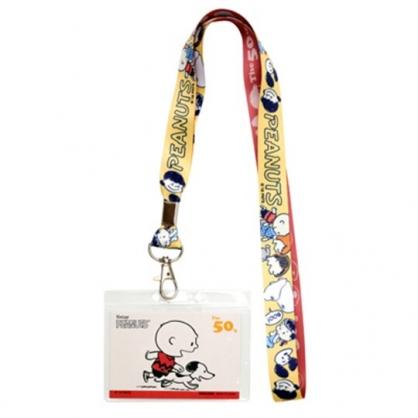 〔小禮堂〕史努比 防水透明織帶掛繩證件套《米.跑步》證件夾.車票夾.卡套