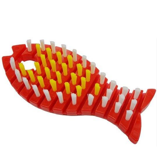 〔小禮堂〕小久保工業所 日製魚造型鍋具清潔刷 《紅》刷具.鍋刷