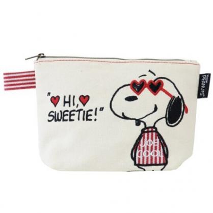 〔小禮堂〕史努比 帆布刺繡船形化妝包《米紅.愛心墨鏡》收納包.萬用包