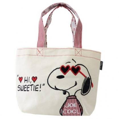 〔小禮堂〕史努比 帆布刺繡手提袋《米紅.愛心墨鏡》便當袋.外出袋