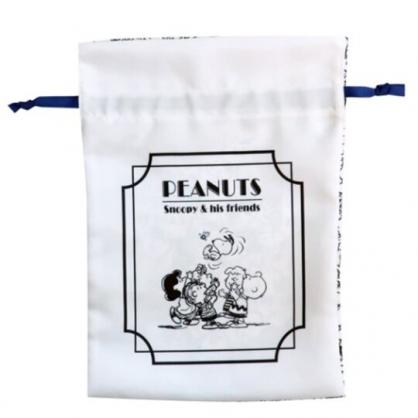 〔小禮堂〕史努比 棉質束口袋《藍白.歡呼》22x30cm.縮口袋.收納袋