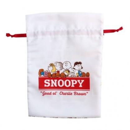 〔小禮堂〕史努比 棉質束口袋《紅白.排坐文字》22x30cm.縮口袋.收納袋