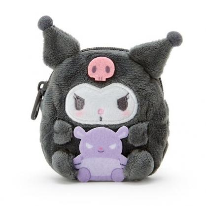〔小禮堂〕酷洛米 迷你全身造型絨毛零錢包《灰紫》收納包.耳機包