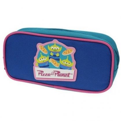 〔小禮堂〕迪士尼 三眼怪 方形尼龍拉鍊筆袋《藍綠.比薩》收納包.化妝包.鉛筆盒