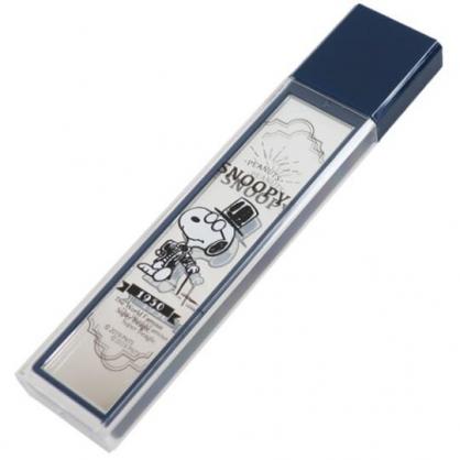 〔小禮堂〕史努比 日製長條型隨身雙面鏡《深藍.紳士裝》放大鏡.隨身鏡