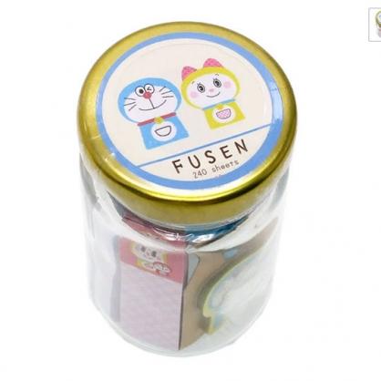 〔小禮堂〕哆啦A夢 造型自黏便利貼組附收納罐《藍金.小叮鈴》N次貼.書籤貼.置物罐