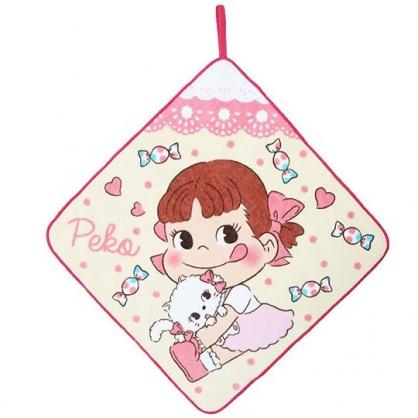〔小禮堂〕不二家PEKO 可掛式純棉割絨擦手巾《粉黃.抱貓咪》33x33cm.毛巾