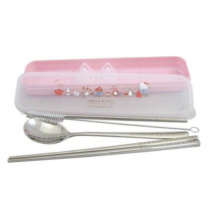 〔小禮堂〕Hello Kitty 盒裝不鏽鋼兩件式餐具吸管組《粉.紙袋裡》環保餐具.環保吸管