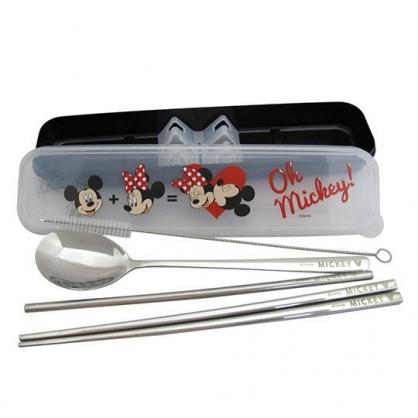 〔小禮堂〕迪士尼 米奇米妮 盒裝不鏽鋼兩件式餐具吸管組《黑.親親》環保餐具.環保吸管