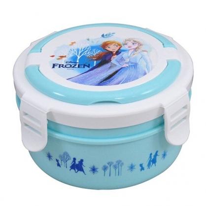 〔小禮堂〕迪士尼 冰雪奇緣 四面扣蓋圓形不鏽鋼隔熱雙層便當盒《藍白.搭肩》800ml