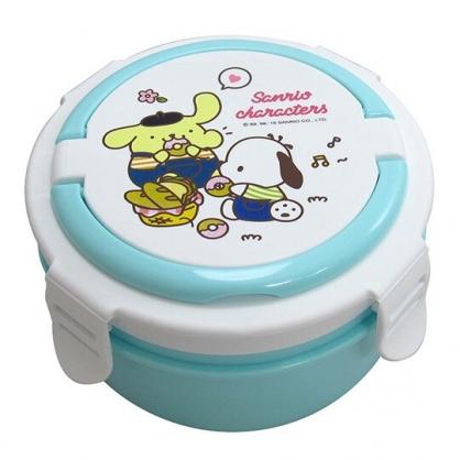 〔小禮堂〕Sanrio大集合 四面扣蓋圓形不鏽鋼隔熱雙層便當盒《綠白.甜甜圈》800ml