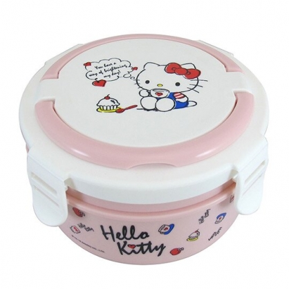 〔小禮堂〕Hello Kitty 四面扣蓋圓形不鏽鋼隔熱雙層便當盒《粉白.喝咖啡》800ml