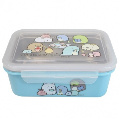 〔小禮堂〕角落生物 方形四面扣不鏽鋼隔熱便當盒《藍.居家》隔熱餐盒.保鮮盒