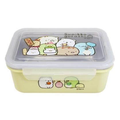 〔小禮堂〕角落生物 方形四面扣不鏽鋼隔熱便當盒《黃.零食》隔熱餐盒.保鮮盒