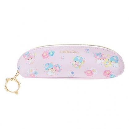 〔小禮堂〕雙子星 半圓皮質拉鍊細筆袋《粉.花朵》化妝包.鉛筆盒.幸福女孩系列