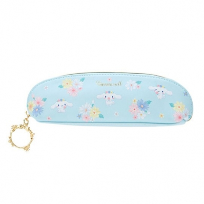 〔小禮堂〕大耳狗 半圓皮質拉鍊細筆袋《藍.花朵》化妝包.鉛筆盒.幸福女孩系列