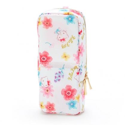 〔小禮堂〕Hello Kitty 直式尼龍拉鍊筆袋《白.花朵滿版》化妝包.鉛筆盒.幸福女孩系列