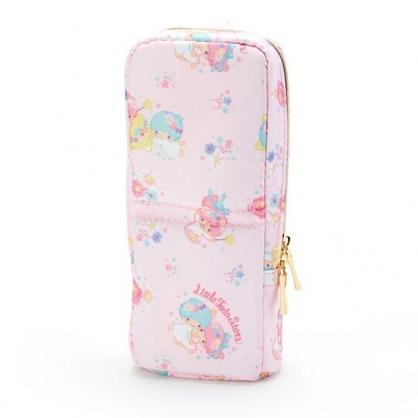 〔小禮堂〕雙子星 直式尼龍拉鍊筆袋《粉.花朵滿版》化妝包.鉛筆盒.幸福女孩系列