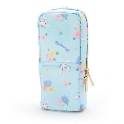〔小禮堂〕大耳狗 直式尼龍拉鍊筆袋《藍.花朵滿版》化妝包.鉛筆盒.幸福女孩系列