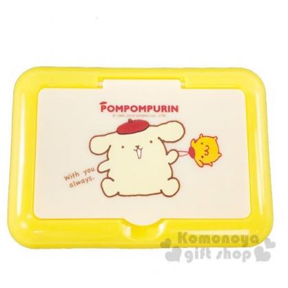 〔小禮堂〕布丁狗 方形塑膠掀蓋隨身面紙盒鏡盒《黃.坐姿》收納盒.飾品盒