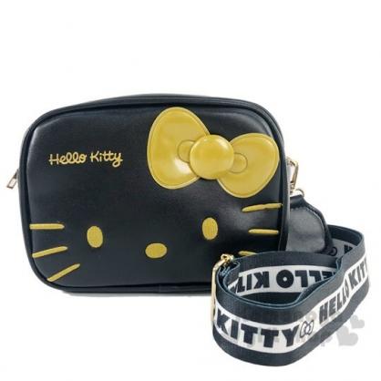 〔小禮堂〕Hello Kitty 方形皮質織帶雙層拉鍊斜背包《黑金》小方包.外出包.隨身包