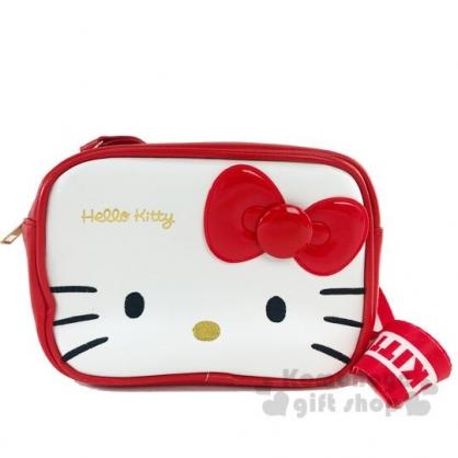 〔小禮堂〕Hello Kitty 方形皮質織帶雙層拉鍊斜背包《紅白》小方包.外出包.隨身包