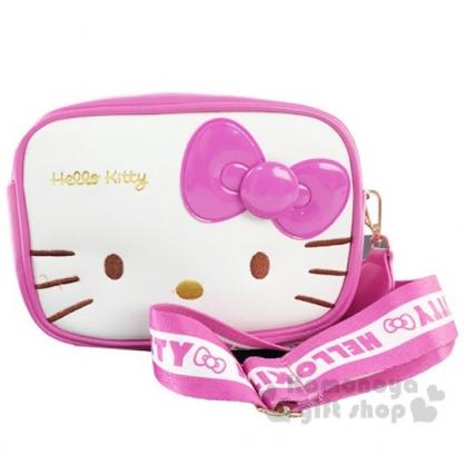 〔小禮堂〕Hello Kitty 方形皮質織帶雙層拉鍊斜背包《桃白》小方包.外出包.隨身包