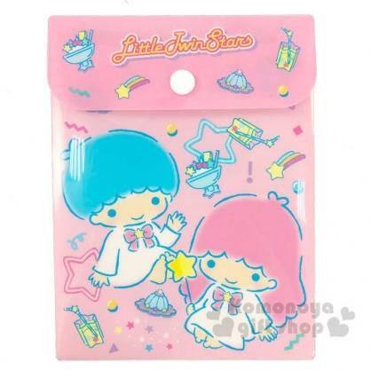 〔小禮堂〕雙子星 直式塑膠扣式資料袋《B6.粉.星星》文具袋.收納袋