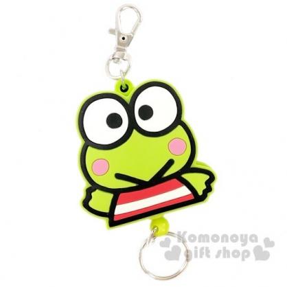 〔小禮堂〕大眼蛙 造型矽膠易拉扣伸縮鑰匙圈《綠白.全身》吊飾.掛飾.鎖圈