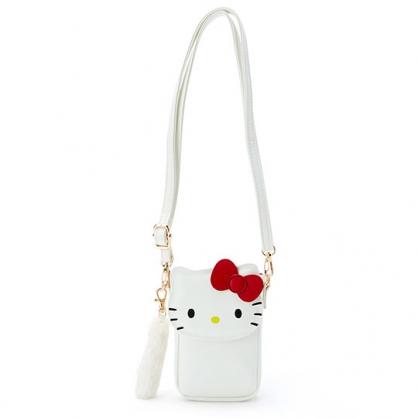 〔小禮堂〕Hello Kitty 造型皮質掀蓋扣式斜背包《白.大臉》手機包.隨身包