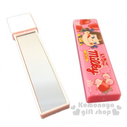 〔小禮堂〕不二家PEKO 日製長條型隨身雙面鏡《粉.草莓》放大鏡.隨身鏡