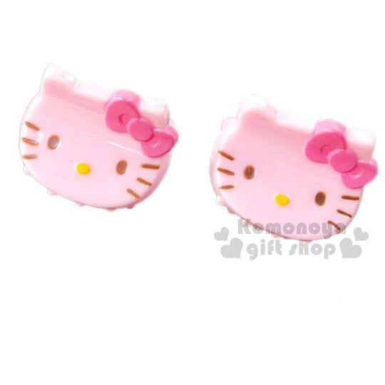 〔小禮堂〕Hello Kitty 迷你大臉造型塑膠髮夾組《2入.桃粉》瀏海夾.迷你鯊魚夾.髮飾