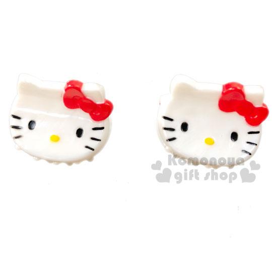 〔小禮堂〕Hello Kitty 迷你大臉造型塑膠髮夾組《2入.紅白》瀏海夾.迷你鯊魚夾.髮飾