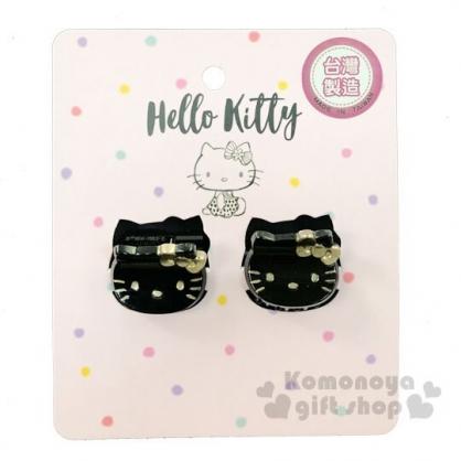 〔小禮堂〕Hello Kitty 迷你大臉造型塑膠髮夾組《2入.黑金》瀏海夾.迷你鯊魚夾.髮飾