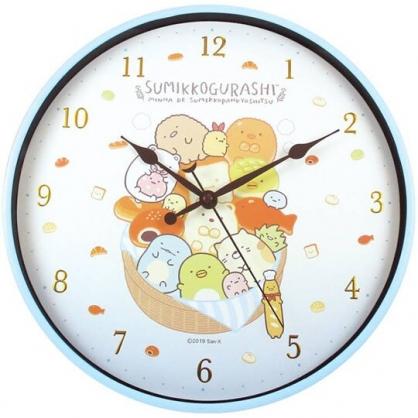 〔小禮堂〕角落生物 連續秒針圓形壁掛鐘《黃棕.麵包籃》時鐘