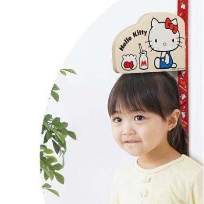 〔小禮堂〕Hello Kitty 吸鐵式身高量尺壁貼《紅白.側坐》175cm.身高壁貼.身高尺
