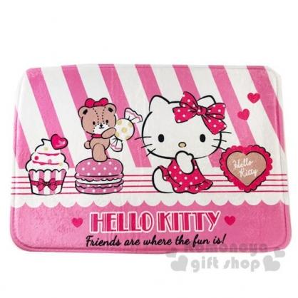 〔小禮堂〕Hello Kitty 方形腳踏墊《粉白.斜紋》65x45cm.止滑海棉軟墊.地墊