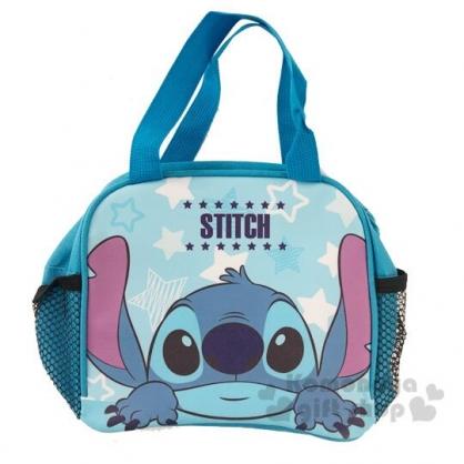 〔小禮堂〕迪士尼 史迪奇 方形皮質手提便當袋《藍.半臉》手提袋.野餐袋