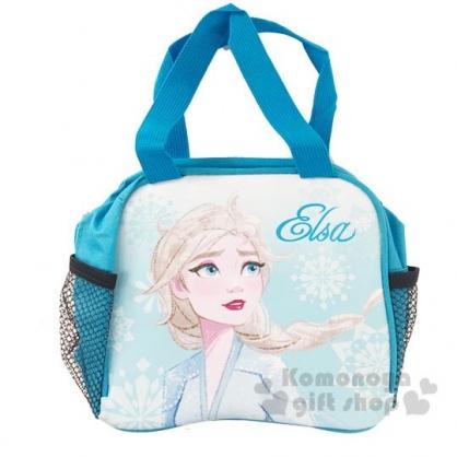 〔小禮堂〕迪士尼 冰雪奇緣 方形皮質手提便當袋《藍.半身》手提袋.野餐袋