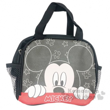 〔小禮堂〕迪士尼 米奇 方形皮質手提便當袋《黑.半臉》手提袋.野餐袋