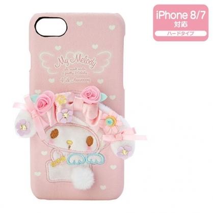 〔小禮堂〕美樂蒂  iPhone 7/8 立體絨毛皮質半包式手機殼《粉》裝飾殼.生日蝴蝶結系列