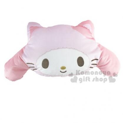 〔小禮堂〕美樂蒂 貓裝大臉造型絨布抱枕靠墊《粉白》靠枕.絨毛玩偶