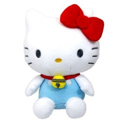 〔小禮堂〕Hello Kitty x 哆啦A夢 絨毛玩偶娃娃《S.藍白》擺飾.玩具