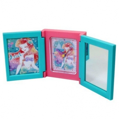 〔小禮堂〕迪士尼 小美人魚 桌上型三面相框時鐘附鏡《綠粉.閉眼》桌鏡.桌鐘.相片架