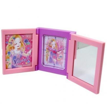 〔小禮堂〕迪士尼 長髮公主 桌上型三面相框時鐘附鏡《粉紫.閉眼》桌鏡.桌鐘.相片架