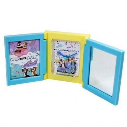 〔小禮堂〕迪士尼 奇奇蒂蒂 桌上型三面相框時鐘附鏡《綠黃.書包裡》桌鏡.桌鐘.相片架
