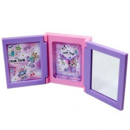 〔小禮堂〕迪士尼 TsumTsum 桌上型三面相框時鐘附鏡《粉紫.帆布鞋》桌鏡.桌鐘.相片架