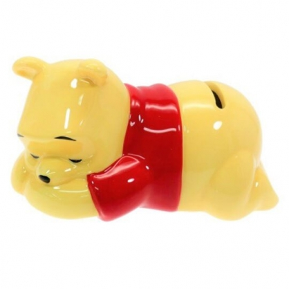 〔小禮堂〕迪士尼 小熊維尼 迷你趴姿造型陶瓷存錢筒《黃》擺飾.撲滿.儲金筒