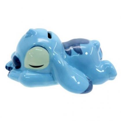 〔小禮堂〕迪士尼 史迪奇 迷你趴姿造型陶瓷存錢筒《藍》擺飾.撲滿.儲金筒